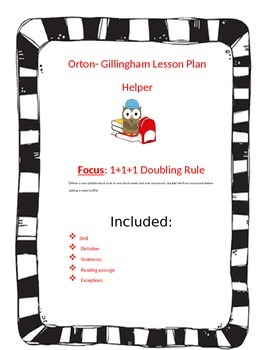 Orton-Gillingham Lesson Plan Helper for the 1+1+1 Doubling Rule