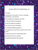 Multisensory Lesson Plan for Teaching the Digraph -ck