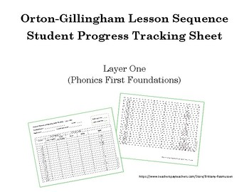 Orton-Gillingham Lesson Sequence Tracking Sheet - Phonics First Layer One / One+
