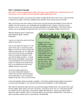 Orton Gillingham Lesson: VCe in multisyllabic words, Magic E