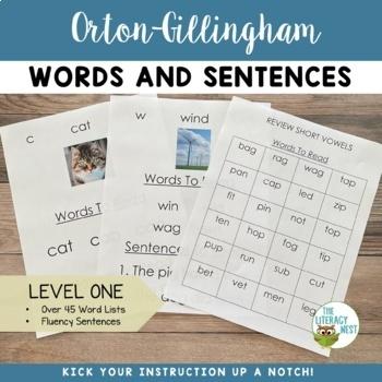 Orton Gillingham Word Lists Level 1 (46 lists)