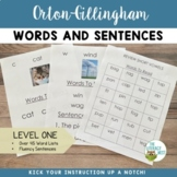 Orton Gillingham Materials Words and Sentences |  Level One