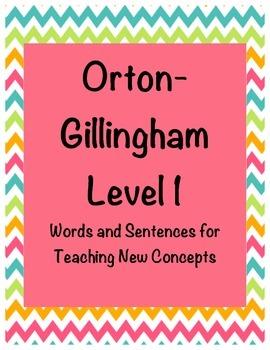 Orton-Gillingham Level 1 Words and Sentences for Teaching