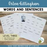 Orton Gillingham Level 3 Word Lists and Sentences