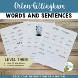 Orton Gillingham Level 3 Word Lists and Sentences