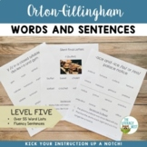 Orton Gillingham Level 5 Word Lists and Sentences