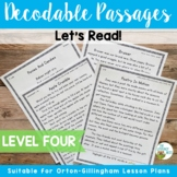 Orton-Gillingham Based Stories Level 4 Decodable Passages INCLUDES DIGITAL