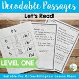Orton-Gillingham Based Level 1 Decodable Reading Passages INCLUDES DIGITAL