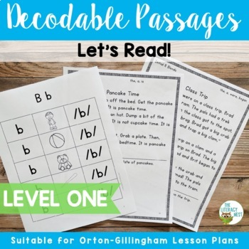 Orton-Gillingham Based Level 1 Decodable Reading Passages Distance Learning