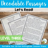 Orton-Gillingham Based Stories Level 3 Decodable Passages INCLUDES DIGITAL