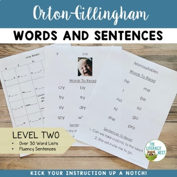 Orton Gillingham Word Lists Level 2
