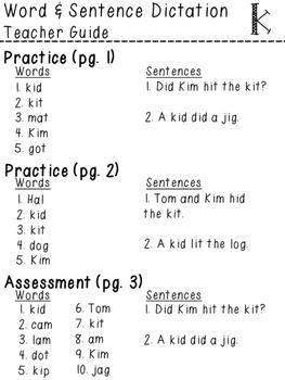 Orton-Gillingham NO PREP Word & Sentence Dictation (k)