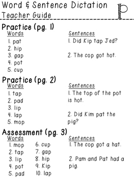 Orton-Gillingham NO PREP Word & Sentence Dictation (p)