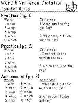 Orton-Gillingham NO PREP Word & Sentence Dictation (wh)