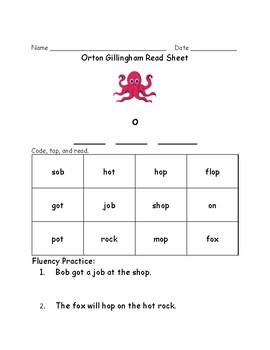 Orton Gillingham Read Sheets- Short Vowels