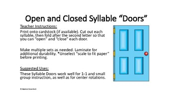 """Orton Gillingham Open and Closed Syllable """"Doors"""""""