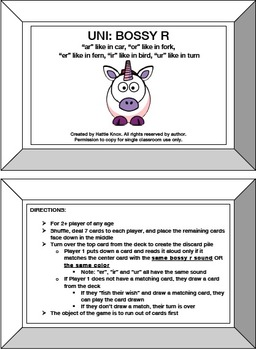 UNI: Bossy R Card Game (ar, er, ir, or, ur)- Orton Gillingham Phonics/Reading