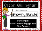 Orton-Gillingham PowerPoints and Centers for 15 Letters from Alphabet c-qu