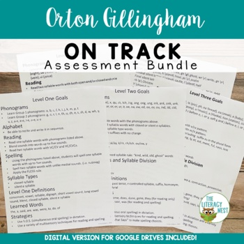 Orton-Gillingham Assessment Level 1-5 Pre and Post Tests Leveled Placement