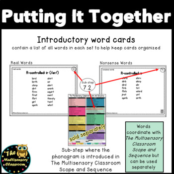 Orton-Gillingham R-Controlled Word Cards