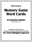 "Orton-Gillingham Reading Drill: Memory Match Game ""ar, er, ir, or, ur"" Syllables"