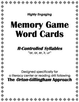 "Orton-Gillingham Reading Drill: Memory Match Game ""ar, er,"
