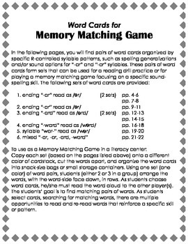 Orton-Gillingham Reading Drill: Memory Match Game with R-Controlled Syllables