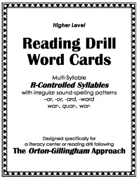 Orton-Gillingham Reading Drill: Word-Syllable Cards for Irregular V+R Patterns
