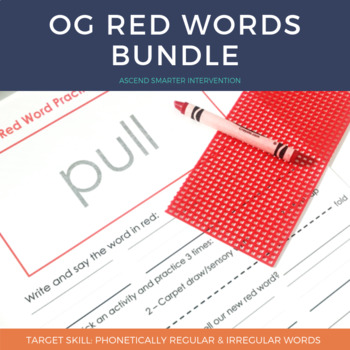 Orton Gillingham Red Words Teaching Resources Teachers Pay Teachers