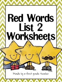 Orton Gillingham Red Word List 2 Practice Worksheets