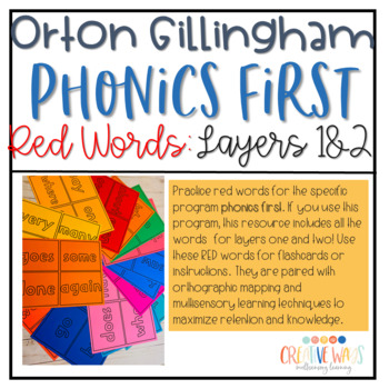 Orton-Gillingham Red Word/Sight Word Flash Cards and Word Wall Cards