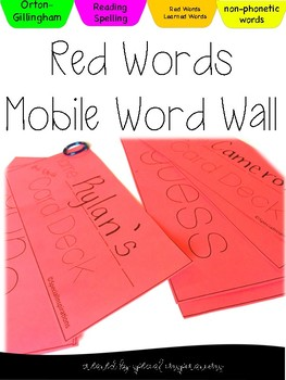 Orton-Gillingham Red Words Mobile Word Wall (Non-phonetic Words)