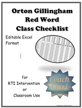 Orton Gillingham Red Words Checklist Fully Editable Excel
