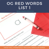 Orton Gillingham Red Words List 1 - Distance Learning Friendly