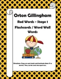 Orton Gillingham Red Words Stage 1 Flash Cards or Word Wall Words