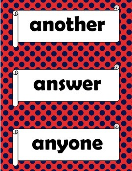 Orton Gillingham Red Words Stage 3 Flash Cards or Word Wall Words.