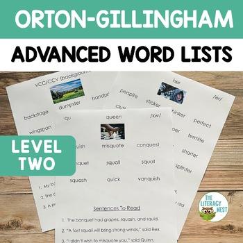 Orton Gillingham Resources Multisensory Reading Advanced Word Lists & Sentences