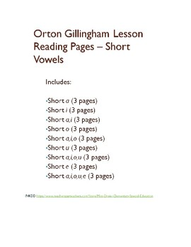 Orton Gillingham Short Vowels