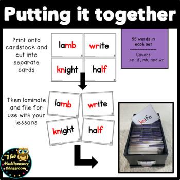 Orton-Gillingham Silent Letter Combination Word Cards