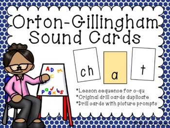 Orton-Gillingham Level 1 Sound Cards (c-qu) Including Visual Supports