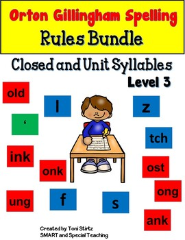Orton Gillingham Spelling Closed and Unit Syllables Bundle (Barton Inspired)