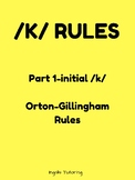 Orton-Gillingham Spelling Rule Activity Packet: /K/ Rules Part 1