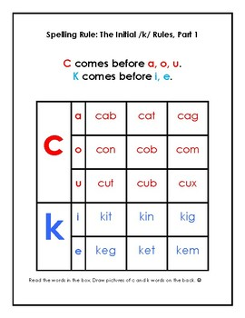 Orton-Gillingham Spelling Rule Activity Packet: /K/ Rules Part 1