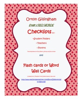 Orton Gillingham Stage 2 red words (HFW Non-Decodable) Checklist and Word Wall