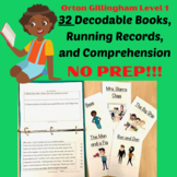 32 Phonics Orton Gillingham Decodable Stories and Running Records -Level 1