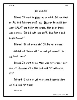 """Orton Gillingham Story FLOSS Rule Controlled Reading Passage """"Bill and Jill"""""""