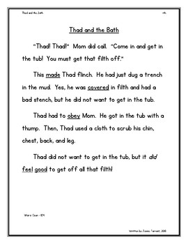 Orton Gillingham Story -th Digraph Controlled Reading Passage