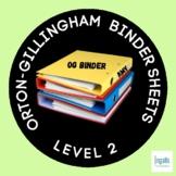 Orton-Gillingham Student Binder Contents: LEVEL 2