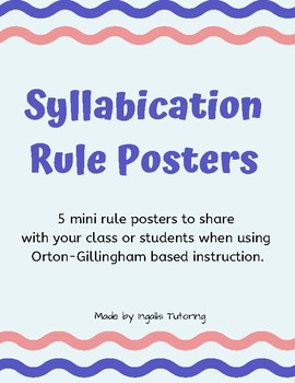 Orton-Gillingham: Syllable Division Rules Mini Posters