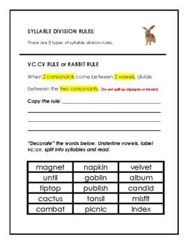 Orton-Gillingham Syllable Division Rule: VC/CV